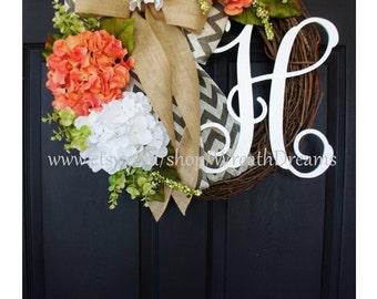 Coral & White Hydrangea Wreath