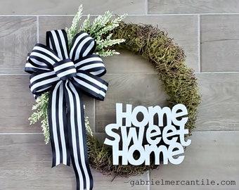 NEW! Simple Moss Wreath. Year Round Grapevine Wreath. Front Door Wreath. Monogram Wreath. Welcome Wreath. Hello Wreath.