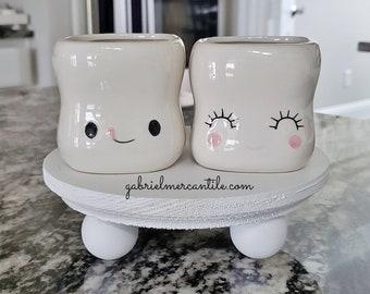 Set of Cute Marshmallow Shaped Hot Chocolate Mugs