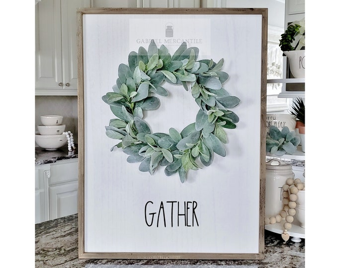 """Large White Wash Wood Wall Decor with Lambs Ear Wreath & Hand-Painted """"Gather"""" Sign."""