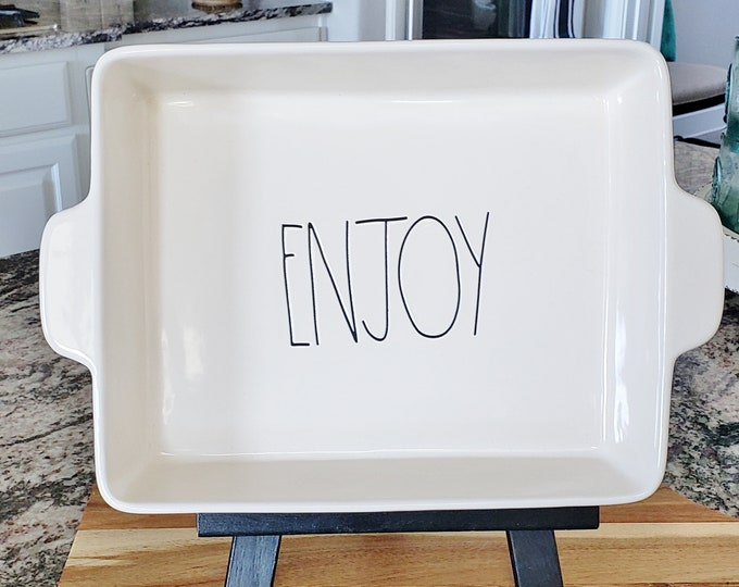 "Rae Dunn Large Letter: ""ENJOY"" Baking Dish"
