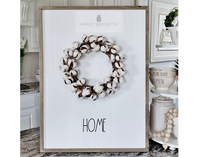 "Large White Wash Wood Wall Decor with artificial Cotton Wreath & Hand-Painted ""Home"" Sign."
