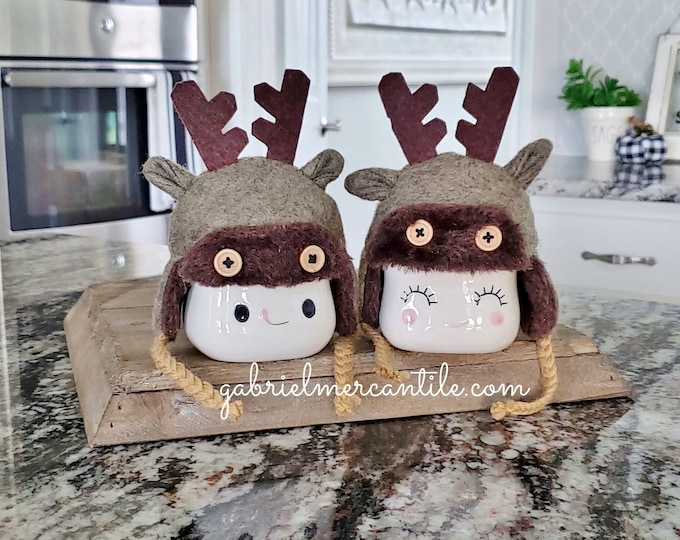 Set of 2 Gray Reindeer Hats for Marshmallow Mugs.