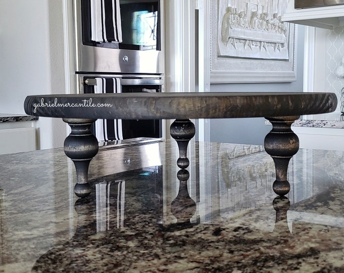 Round Rustic Wood Riser Stand in Black Color Stain. Wood Riser. Wood Stand. Wood Pedestal. Wood Tray. Farmhouse. Rae Dunn.
