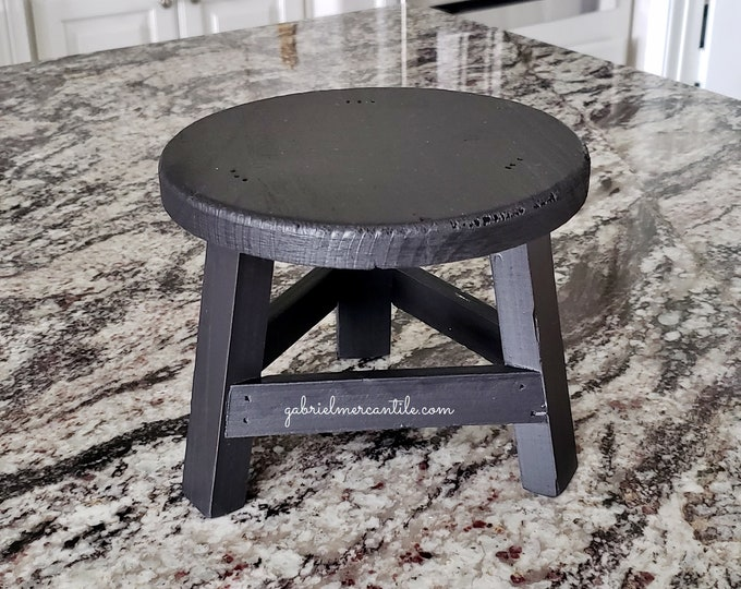 Mini Round Stool Riser. Wood Riser. Wood Stand. Wood Pedestal. Wood Tray. Farmhouse. Rae Dunn. Rustic. Distressed.