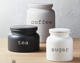 Set of 3 Custom Ceramic Canister with Silicone Gasket Lid. Farmhouse Jar. Kitchen Canister. Rae Dunn Cookie Jar. Coffee. Tea. Sugar.