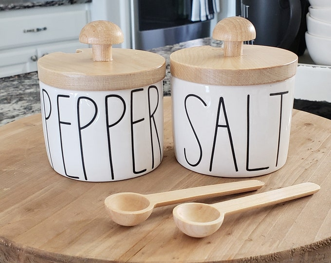 Set of 2 Birch Lid w/ Spoon for Rae Dunn Boutique: Salt & Pepper Cellar