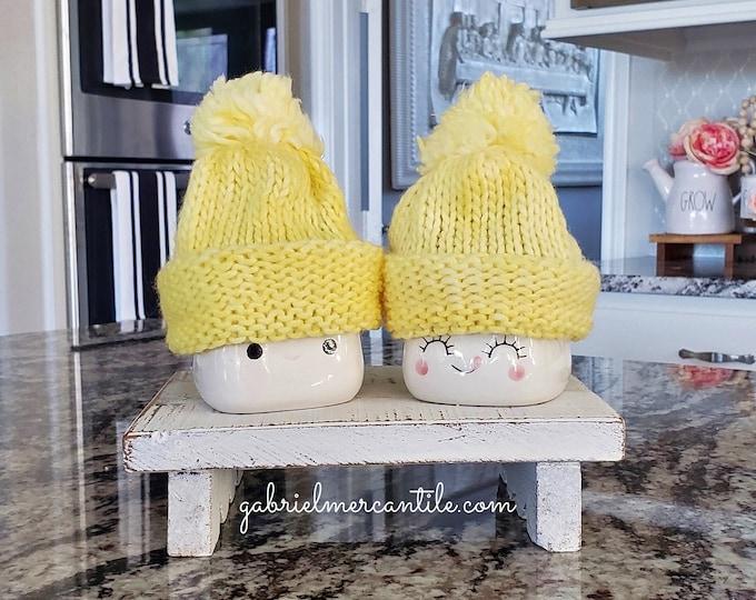 Yellow Pastel Knit Hats  for Marshmallow Mugs. Farmhouse Decor. Tier Tray Decor. Tier Stand Decor. Rae Dunn Decor.