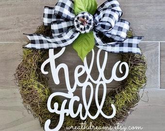 "LIMITED QTY! 17"" Farmhouse Fall Wreath. Autumn Wreath. Hello Fall. Monogram Wreath. Autumn Wreath. Moss Wreath. Door Wreath. Monogram Wreath"