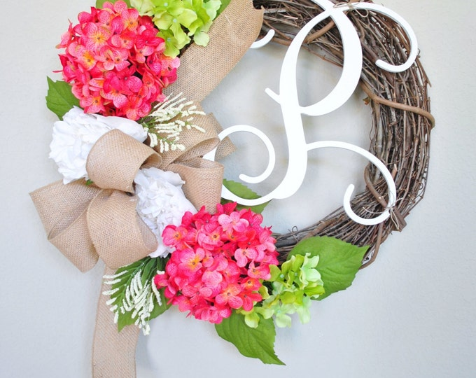 Peony & Hydrangea  Wreath. Year Round Wreath. Spring Wreath. Summer Wreath. Door Wreath. Burlap Wreath. Artificial Wreath
