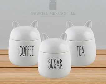 Custom Ceramic Canister. 26 oz Off White Cat Shape Speckled Ivory Canister. Farmhouse Jar. Kitchen Canister. Coffee. Tea. Sugar.