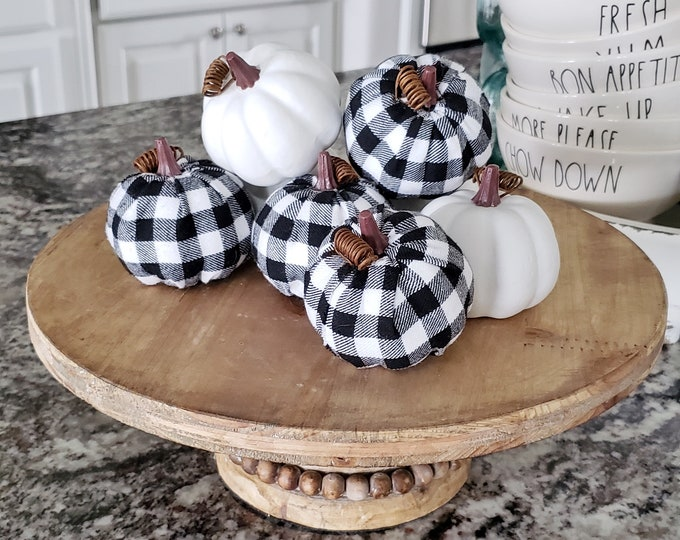 White & Buffalo Check Pumpkin Set of 8