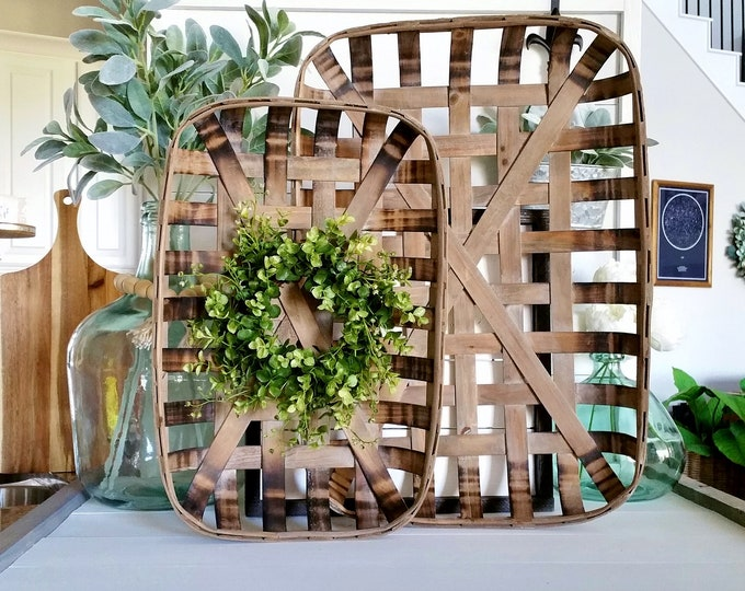 Eucalyptus & Beach Rectangular Tobacco Basket Wreath. Farmhouse Tobacco Basket Wreath. Tobacco Basket. Farmhouse Wreath.
