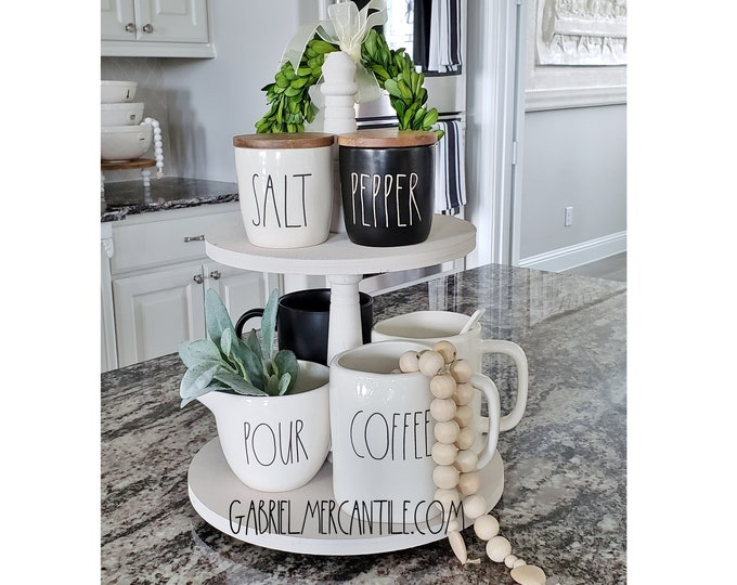 Baltic Birch Wood 2 Tier Round Tray Stand in White Paint Color. Size Options Available.