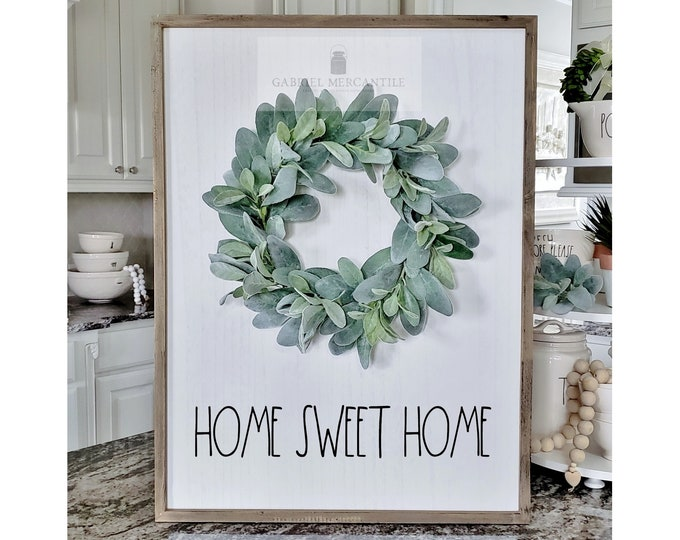 "Large White Wash Wood Wall Decor with Lambs Ear Wreath & Hand-Painted ""Home Sweet Home"" Sign."