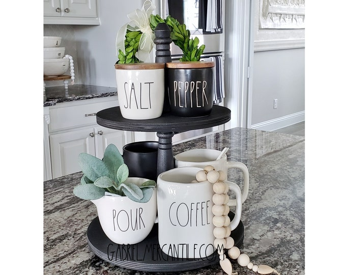 Baltic Birch Wood 2 Tier Round Tray Stand in Black Paint Color. Size Options Available.