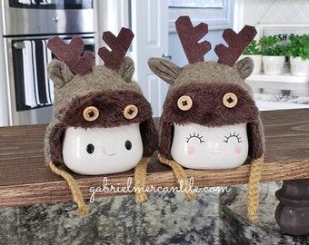 Set of Gray Reindeer Hats for Marshmallow Mugs. Farmhouse Decor. Tier Tray Decor. Tier Stand Decor. Rae Dunn Decor.