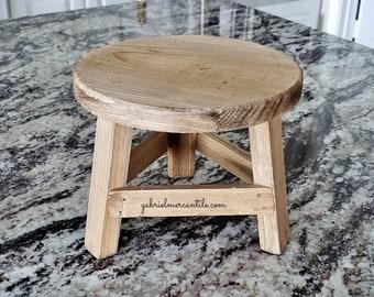 Mini Round Stool Riser. Wood Riser. Wood Stand. Wood Pedestal. Wood Tray. Farmhouse. Rae Dunn. Rustic. Distressed.