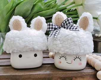 Fluffy Bunny Ear Hats  for Marshmallow Mugs. Farmhouse Decor. Tier Tray Decor. Tier Stand Decor. Rae Dunn Decor.