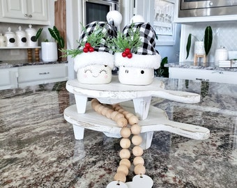 Set of 2 Round Recycled Wood Cutting Board Risers in Distressed White. Wood Riser. Wood Stand. Wood Pedestal. Wood Tray. Farmhouse.