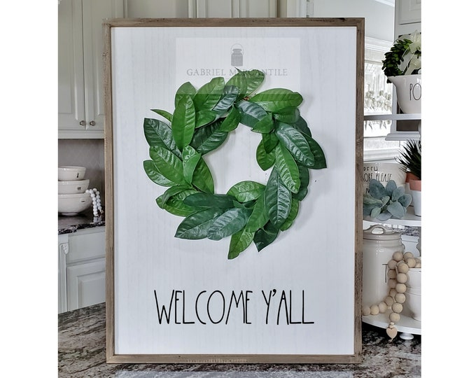 """Large White Wash Wood Wall Decor with Lemon Leaves Wreath & Hand-Painted """"Welcome Y'all"""" Sign."""