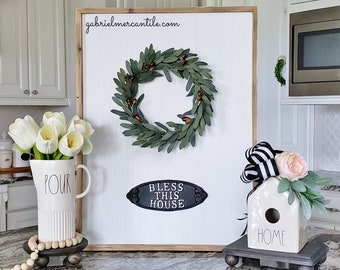 """Large White Wash Wood Wall Decor with Olive Wreath & """"Bless This House"""" Metal Sign."""