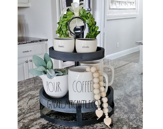 """Rustic 11""""x13.5"""" Paulownia Wood & Metal 2 Tier Round Tray Stand with Metal Base in Gray Paint Color."""