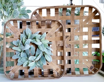 Lamb's Ear Square Tobacco Basket Wreath. Farmhouse Tobacco Basket Wreath. Tobacco Basket. Farmhouse Wreath.