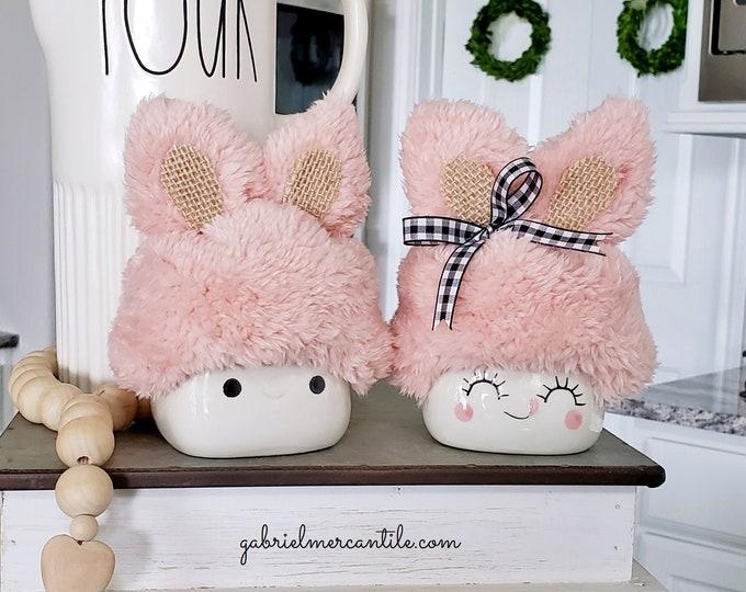 Fluffy Bunny Hats  for Marshmallow Mugs. Farmhouse Decor. Tier Tray Decor. Tier Stand Decor. Rae Dunn Decor.