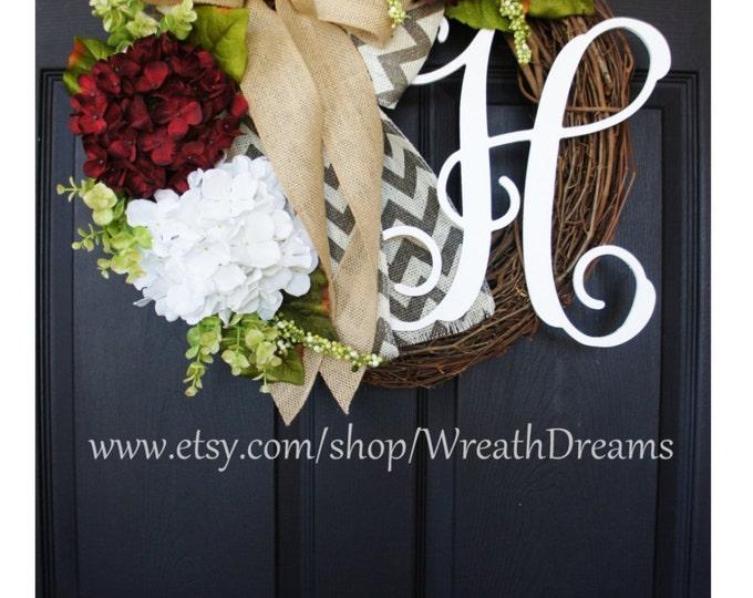 Burgundy Hydrangea Wreath