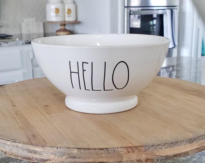 """Rae Dunn Large Letter: """"Hello"""" Ceramic Bowl"""