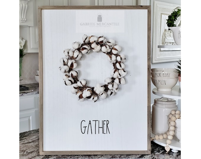 "Large White Wash Wood Wall Decor with artificial Cotton Wreath & Hand-Painted ""Gather"" Sign."