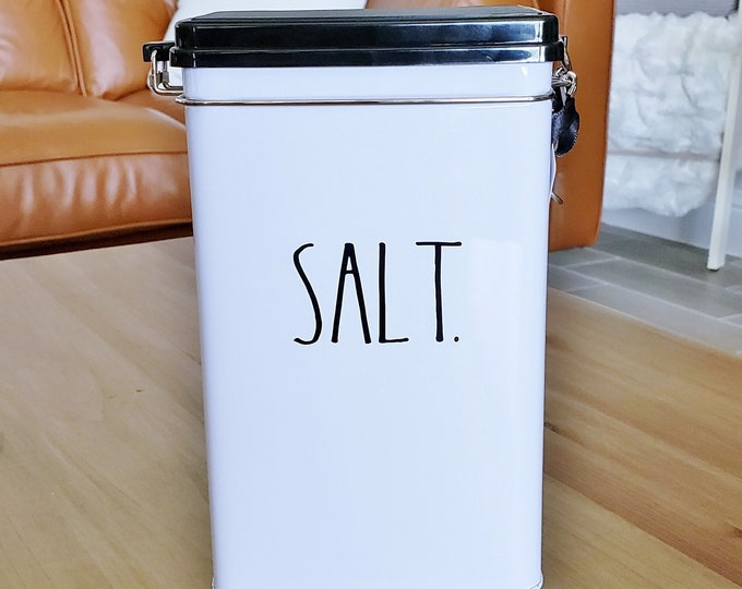 "Rae Dunn Boutique: ""Salt"" Tin Storage Box W/Metal Clamp Locking Lid"