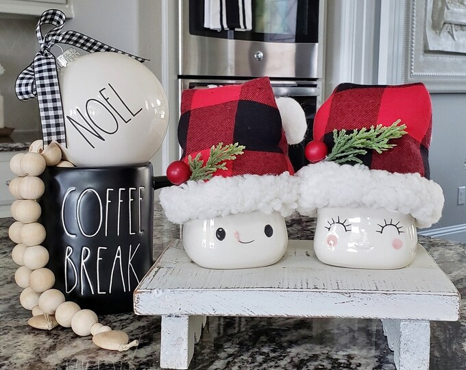 Set of Black & Red Buffalo Check Santa Hats for Marshmallow Mugs. Farmhouse Decor. Tier Tray Decor. Tier Stand Decor. Rae Dunn Decor.