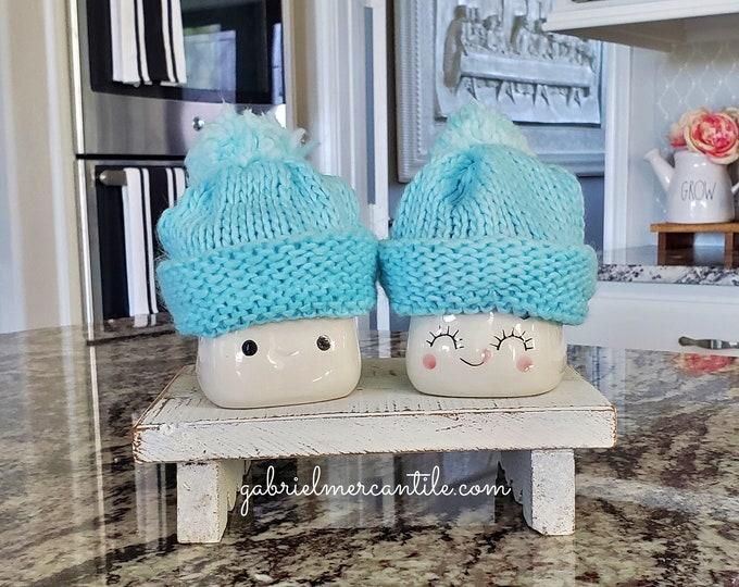 Blue Pastel Knit Hats  for Marshmallow Mugs. Farmhouse Decor. Tier Tray Decor. Tier Stand Decor. Rae Dunn Decor.