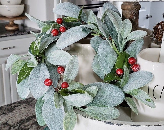 MINI Christmas Lamb's Ear Grapevine Wreath.
