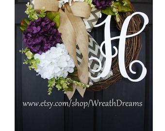 Purple & White Hydrangea Wreath. Year Round Wreath. Spring Wreath. Summer Wreath. Door Wreath. Grapevine Wreath.