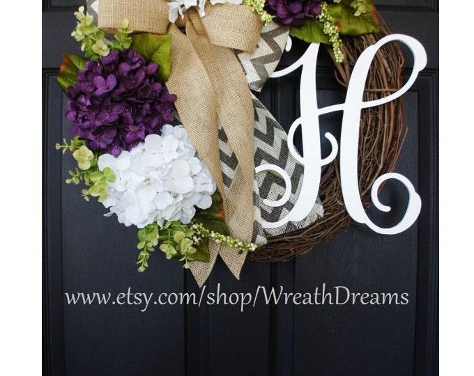 Purple & White Hydrangea Wreath