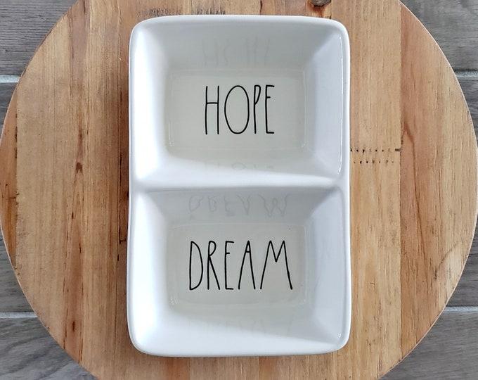 "Rae Dunn Large Letter: ""Hope & Dream"" Divided Serving Dish"