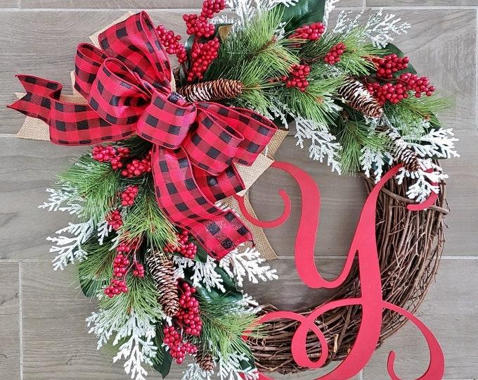 Christmas Wreath. Holiday Wreath. Rustic Wreath. Farmhouse Wreath. Grapevine Wreath. Pine Wreath. Evergreen Wreath. Door Wreath.