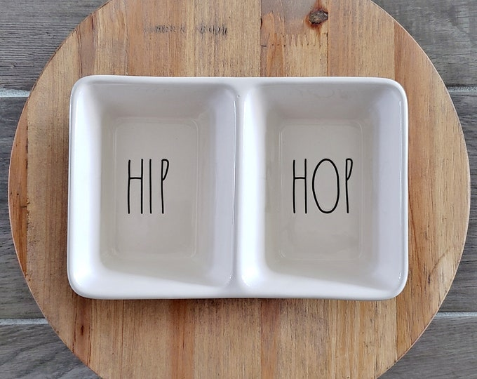 "Rae Dunn Large Letter: ""Hip Hop"" Divided Serving Dish"
