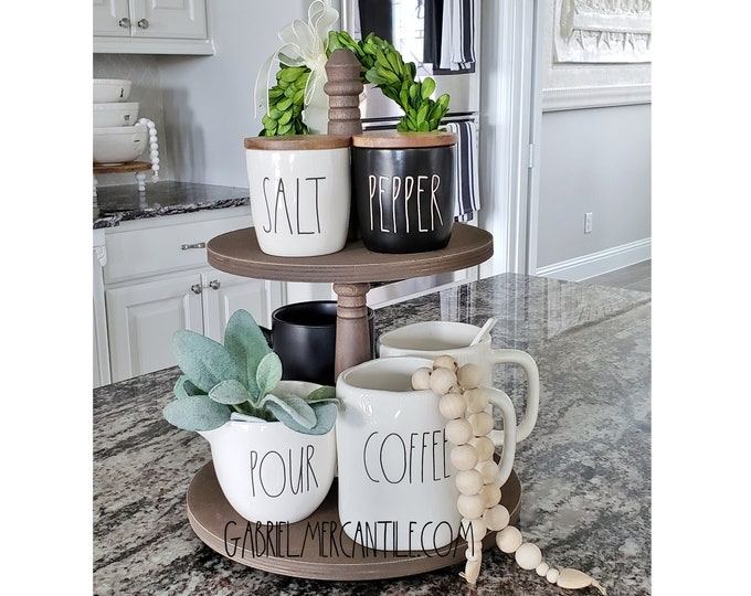 Baltic Birch Wood 2 Tier Round Tray Stand in Espresso Paint Color. Size Options Available.