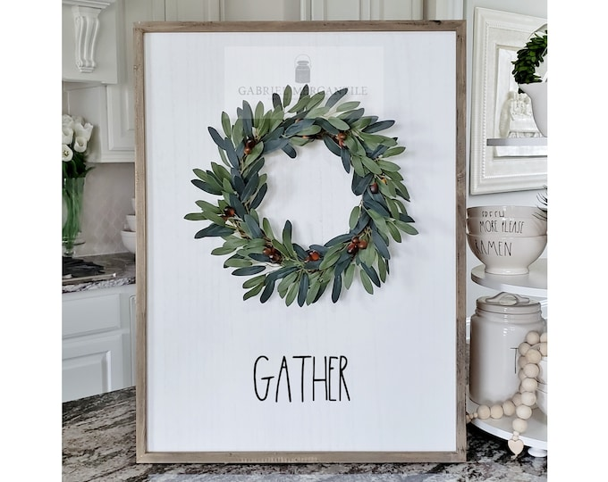 "Large White Wash Wood Wall Decor with artificial Olive Wreath & Hand-Painted ""Gather"" Sign."
