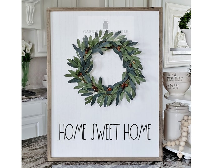 "Large White Wash Wood Wall Decor with artificial Olive Wreath & Hand-Painted ""Home Sweet Home"" Sign."