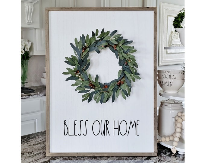 "Large White Wash Wood Wall Decor with artificial Cotton Leaves Wreath & Hand-Painted ""Bless Our Home"" Sign."