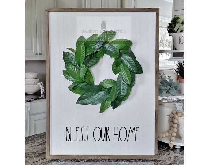 """Large White Wash Wood Wall Decor with Lemon Leaves Wreath & Hand-Painted """"Bless Our Home"""" Sign."""