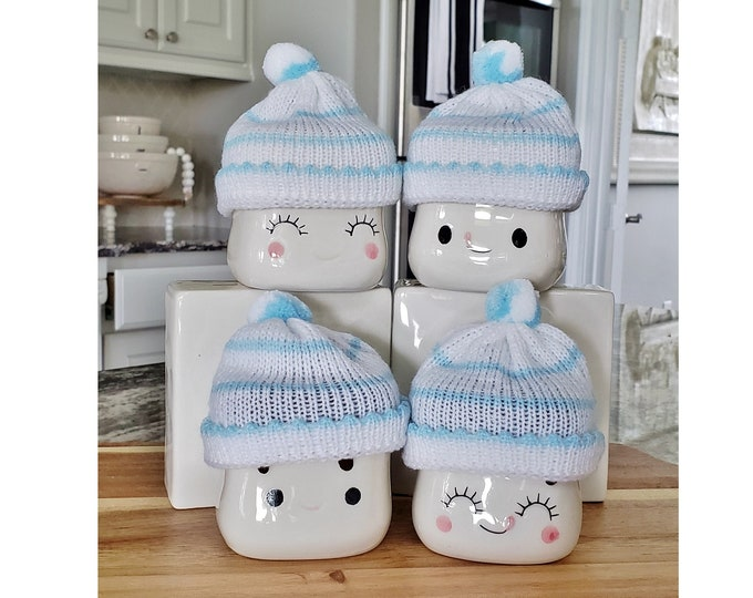 Set of 4 Blue Stripe Knit Beanie Hats for Marshmallow Mugs