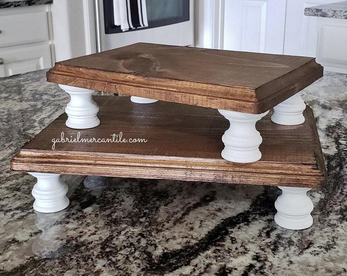 Rectangular Wood Riser Stand in Dark Brown with White legs. Wood Riser. Wood Stand. Wood Pedestal. Wood Tray. Farmhouse Tray. Rae Dunn.
