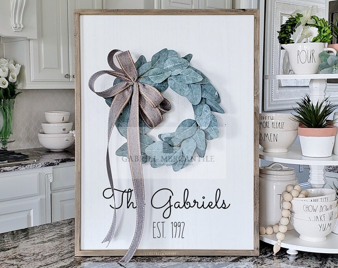 Custom Large White Wash Wood Wall Decor with Eucalyptus Wreath & Hand-Painted Custom Sign