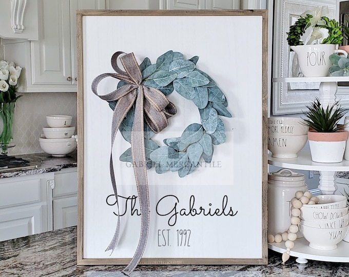 Large White Wash Wood Wall Decor with Eucalyptus Wreath & Hand-Painted Custom Sign